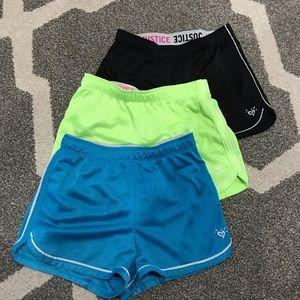 3 pairs Sz 10 girls Justice shorts